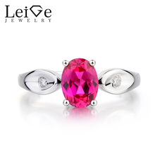 Leige Jewelry Ruby Ring Ruby Engagement Ring July Birthstone Oval Cut Red Gemstone 925 Sterling Silver Romantic Gifts for Women