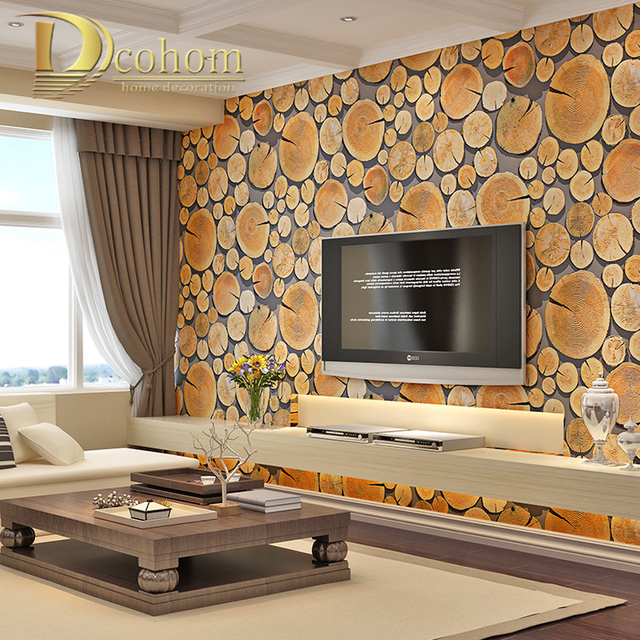 bedroom living room sofa tv background wall decor wood wall paper