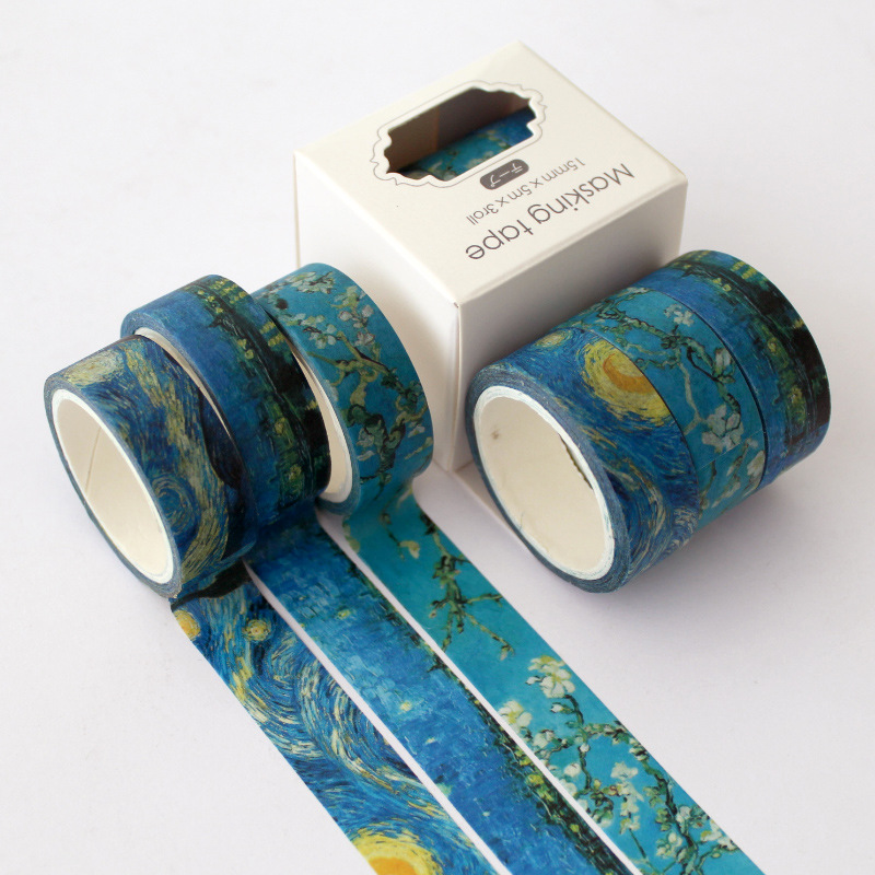 3 Pcs/pack Classic Van Gogh Kawaii Planner Handbook Decorative Paper Washi Masking Tape Set School Supplies Stationery