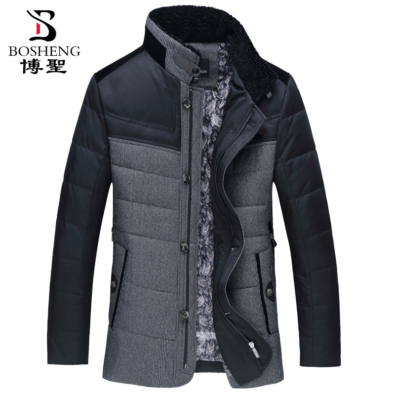 Men winter jacket thick lining warm business stand collar single breasted 80% white duck   down     coat   outerwear plus size M - 7XL