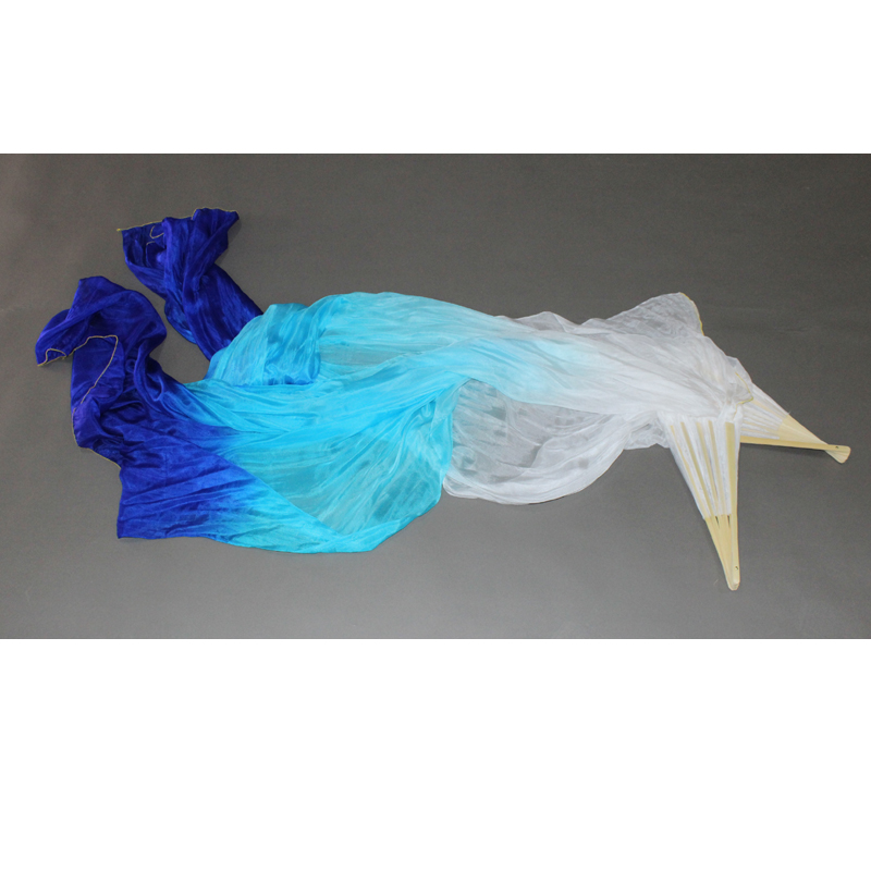 2018 100 Real Silk Belly Dance Fan Veil One Pair left hand right hand White Turquoise Blue Bellydance Fan Veils in Belly Dancing from Novelty Special Use