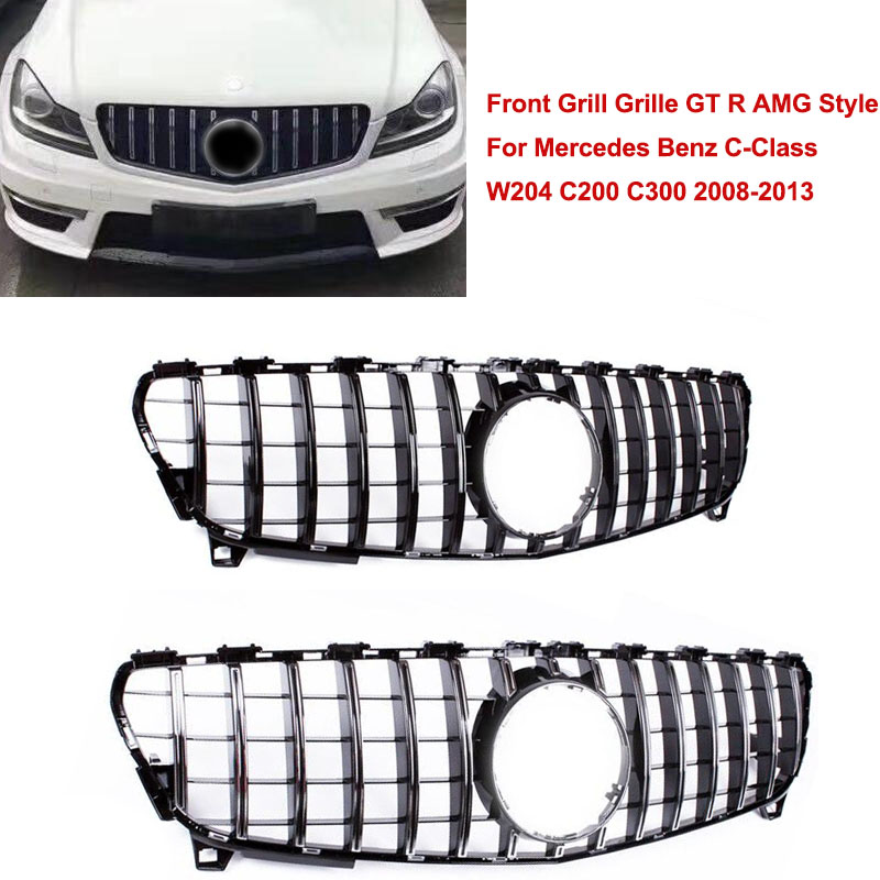 ​Front Grill Upper Grille GT R AMG Style For <font><b>Mercedes</b></font> Benz C-Class W204 C200 <font><b>C300</b></font> 2008 2009 <font><b>2010</b></font> 2011 2012 2013 Plastic image