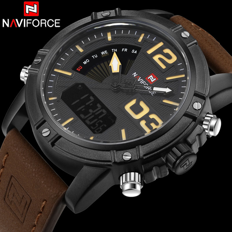 Men Sport Watches NAVIFORCE Brand Leather Quartz Watch LED Digital Watch Dual Display 30M Waterproof Wristwatches Reloj Hombre men dual display watches fashion sports watches leather digital watches boamigo waterproof quartz gift wristwatches reloj hombre