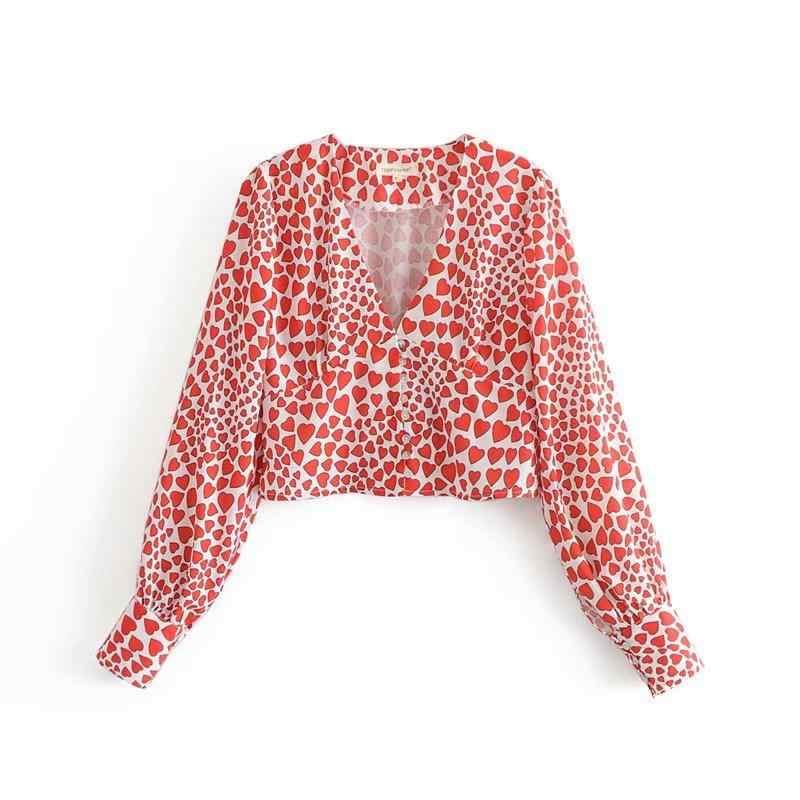 ... 2018 Women Leopard Print Crop Tops Animal Long Sleeve Blouse Short  Heart Print Shirts Midi Skirt ... dfc88f710