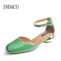 2016 New Women Sexy Strap Buckle Patent Leather Shoes Nude Green Black Square Toe Flat Shoes