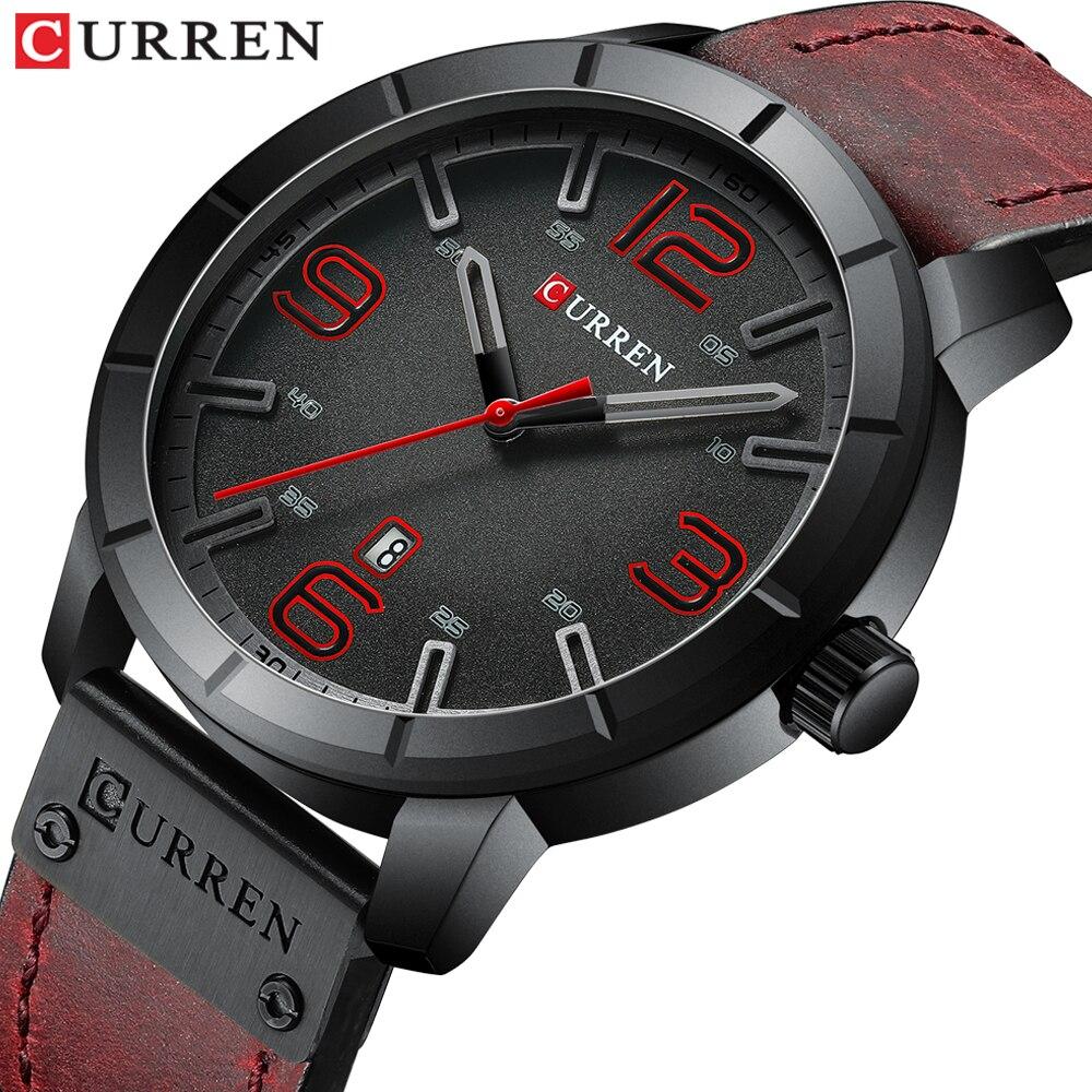 Homens Relógio CURREN 2019 relógios de Pulso Masculino Relógio de Quartzo dos homens Top Marca de Luxo Reloj Hombres Couro Relógios de Pulso com Calendário