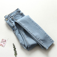 Light Blue High Waist Jeans Woman Spring Summer Skinny Jeans Woman Vaqueros Mujer Ripped Pencil Jeans Leggings Denim Pants C4389