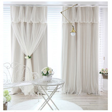 Tassels head top blackout curtain cloth curtain+voile sheer tulle curtains for living room bedroom curtain window drapes panels цены