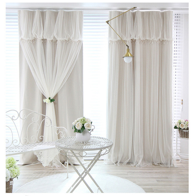 Tassels Head Top Blackout Curtain Cloth Curtain+voile Sheer Tulle Curtains  For Living Room Bedroom