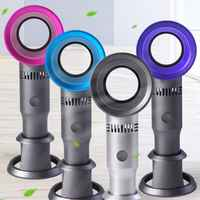 Mini Portable Handheld Bladeless Fan USB Rechargeable Leafless Cooling Fan Cooler with 3 Speed Level