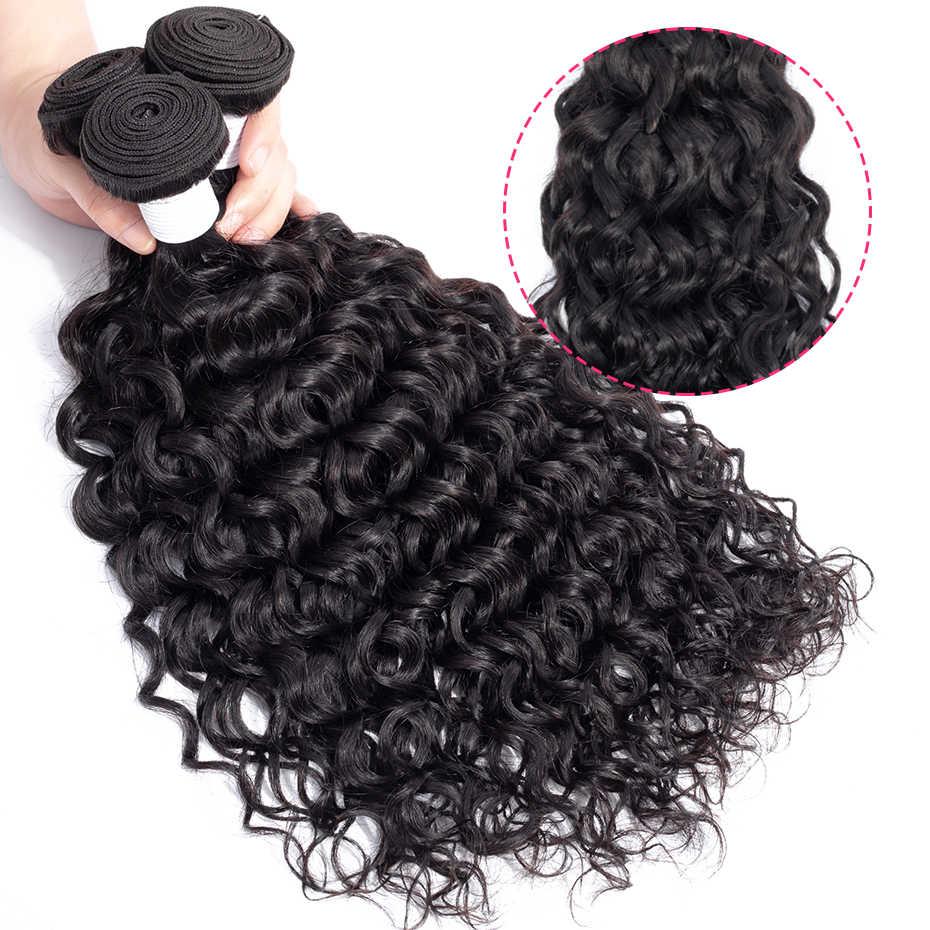 Gabrielle Braziliaanse Water Wave Haar Bundels 1 Stuk 3 Pcs Natuurlijke Kleur 100% Human Hair Extensions 8-26 Inch non-Remy Haar Weave