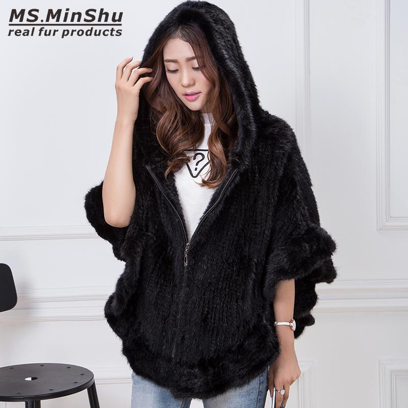 MS MinShu Hand Knitted Mink Fur Poncho Women Real Fur Cape Hooded Coat Zipper Fashion Lady