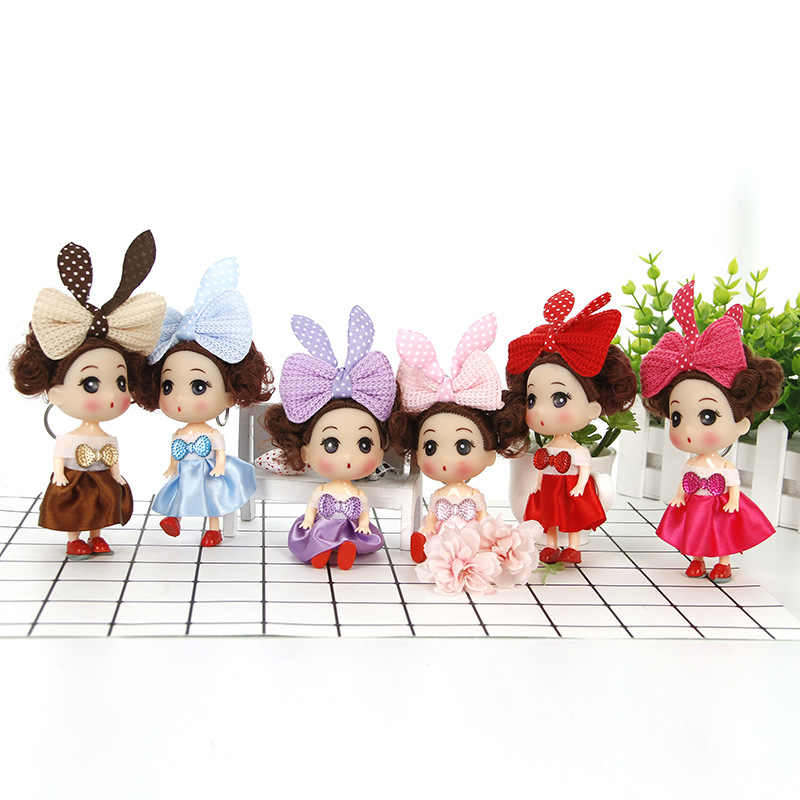 12CM Rabbit ears Bow Princess bride confused doll fat baby key chain bag pendant wedding dress creative gift doll toy