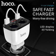 hoco dual cigarette lighter adapter usb a port car charger splitter 12v 24v for iphone samsung xiaomi android