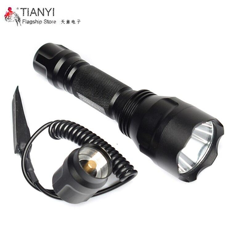 5mount light C8 Tactical Gun Flashlight Torch 2200LM CREE XM-L2 LED 5 Modes LED Flash Light Lanterna+remote switch HIG T6 led