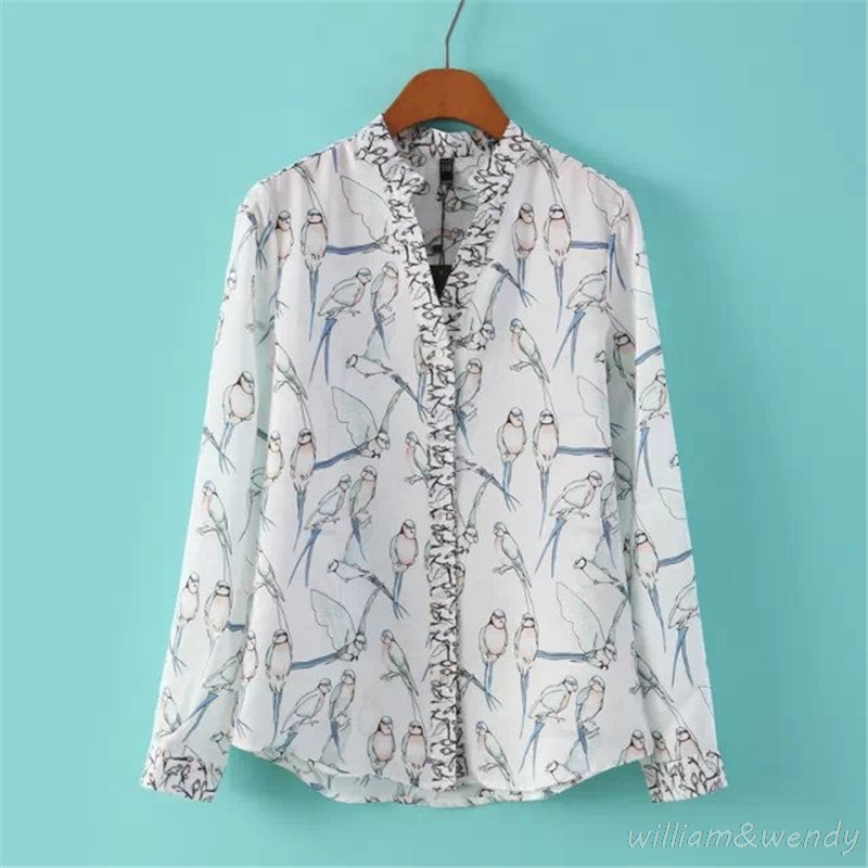 Women Spring Autumn Birds Pattern Long Sleeve Casual Thin Shirt Korean Fashion Cardigans <font><b>White</b></font> Cotton <font><b>Large</b></font> Size <font><b>Chemise</b></font> Blouses
