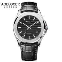 Mężczyźni Zegarki Szwajcarski Luksusowa Marka Zegar Mężczyzna Wodoodporna Zasilania Rezerwy AGELOCER Prawdziwej Skóry Zegarka Mężczyzna Zegarek Na Rękę Mechaniczne