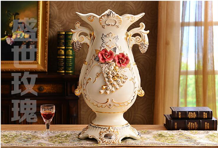 Ceramic dry flower big lucky bamboo vase creative furnishing articles in the living room in Vases from Home Garden