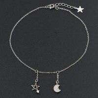 Solid 925 Sterling Zilveren Zirconia Moon Star Charm Hangers Enkelband voor Vrouwen Crystal Foot Sieraden