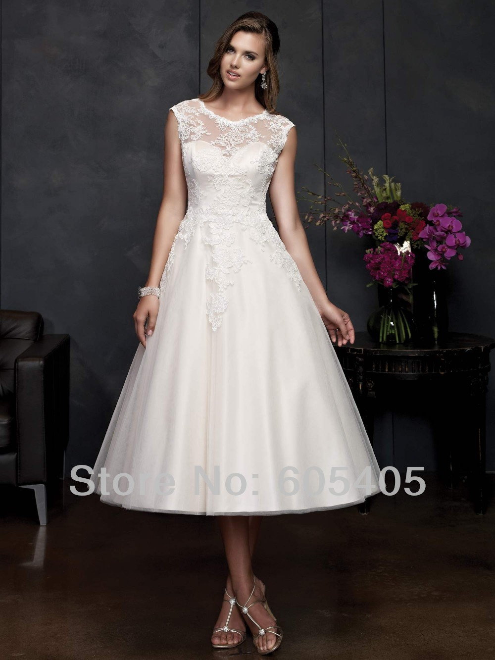 Elegant A Line Mid Length Wedding Dresses With Cap Sleeves See