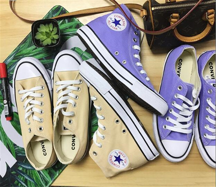 NEW CONVERSE ALL STAR Shoes 2018 classic sneakers Men and women canvas Purple yellow colors 35-44 Skateboarding shoes anime converse all star skateboarding shoes boys girls pokemon snorlax white black canvas sneakers design 2 colors