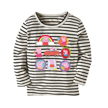 White Stripe Cartoon Pig Children T-shirts Girls Long Sleeve T-Shirt Hot Kids Top Multicolor Hot Clothes Cotton T Shirt Kids