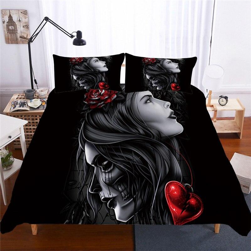 Image 4 - Bonenjoy Sugar Skull Bedding Set Queen Size Flower Skull Bed Linen Double Duvet Cover with Pillowcase King Size Skull Bedding-in Bedding Sets from Home & Garden