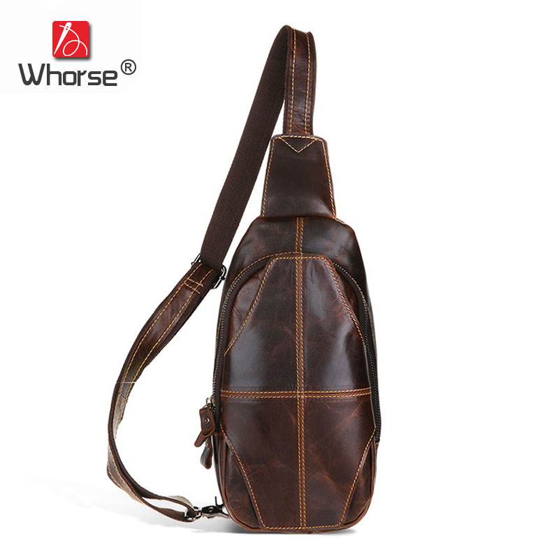 [WHORSE] Brand Luxury Vintage Genuine Leather Chest Bag Men Casual Messenger Bags Cowhide Male Shoulder Waist Pack W60160 new 2016 genuine leather crocodile alligator pattern men vintage messenger bag waist pack men s bags chest pack waist bag 3864