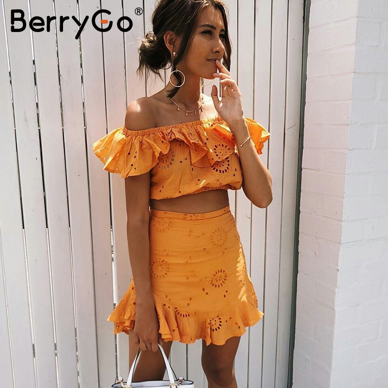 BerryGo Off shoulder cotton ruffle sexy dress Chic embroidery hollow out summer dress Boho beach two-piece white short dress
