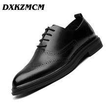 DXKZMCM Genuine Leather Dress Men Shoes Lace Up Italy Retro Business Wedding Formal Flats Shoes For Men