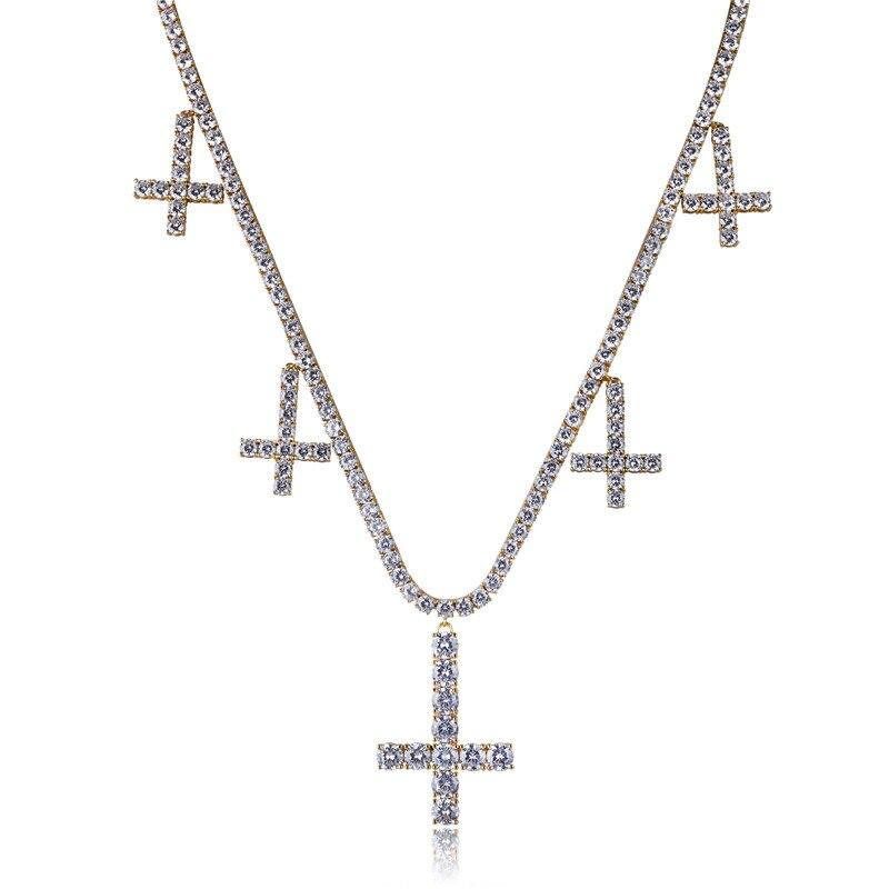 Chanceux Sonny couleur or Tennis chaîne collier croix pendentif à breloque et collier Bijoux zircon cubique glacé pavé lien chaîne Bijoux