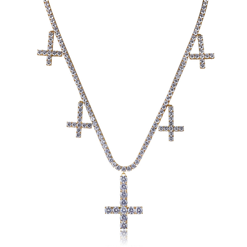 Lucky Sonny Gold Color Tennis Chain Necklace Cross Charm Pendant & Necklace Bijoux Cubic Zirconia Iced Out Link Chain Jewelry