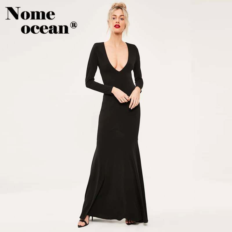 Black Plunge Long Sleeve Dresses Open Back Maxi Dress 2018 Summer