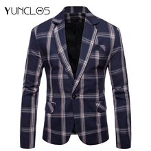 Euro Size New Elegant Men Blazers Classic Plaid Printed Slim Fit Suit Jacket High Quality Casual Male Blazer Prom Blazers