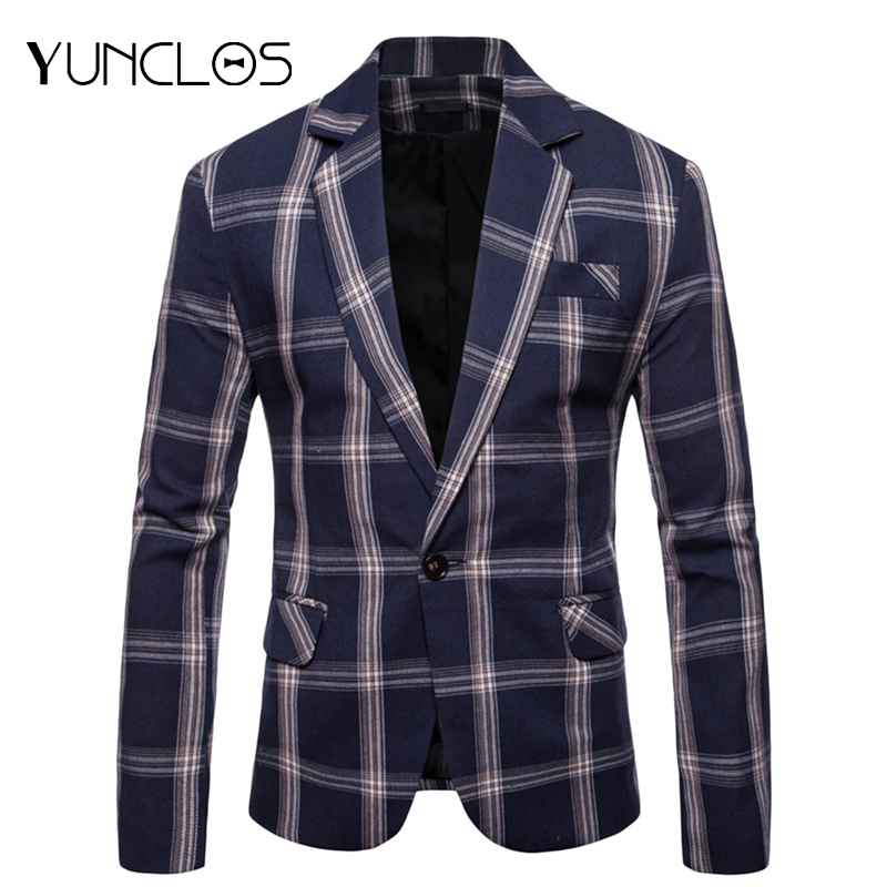 YUNCLOS  New Elegant Men Blazers Classic Plaid Printed Slim Fit Suit Jacket High Quality Casual Male Blazer Prom Blazers