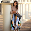 Verragee Women Autumn Winter Long Dress 2016 Fashion Color Stripe Patchwork Turtleneck Slim Long Dress Party Plus Size Dresses