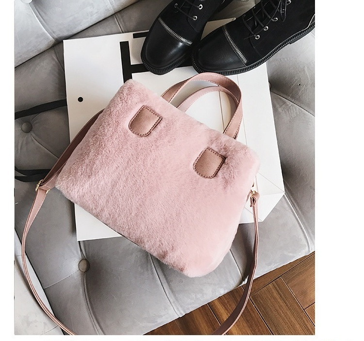 84252b3bdf Winter Women Faux Fur PU Leather Shoulder Bags Top-Handle Bag Female  Fashion Hairy Designer Handbag Flap Bag Plush Crossbody Bag