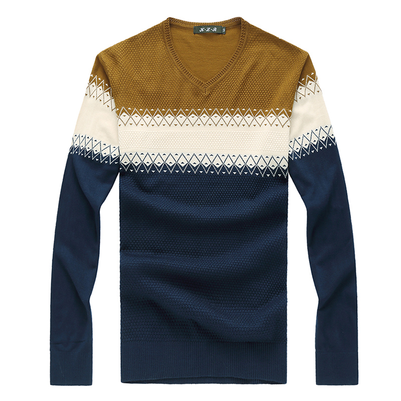 New Arrival Mens Sweaters Autumn Winter Fashion V Neck Geometric Knitted Sweater Men 2018 Casual Pathchwork Pullovers Men 8XL