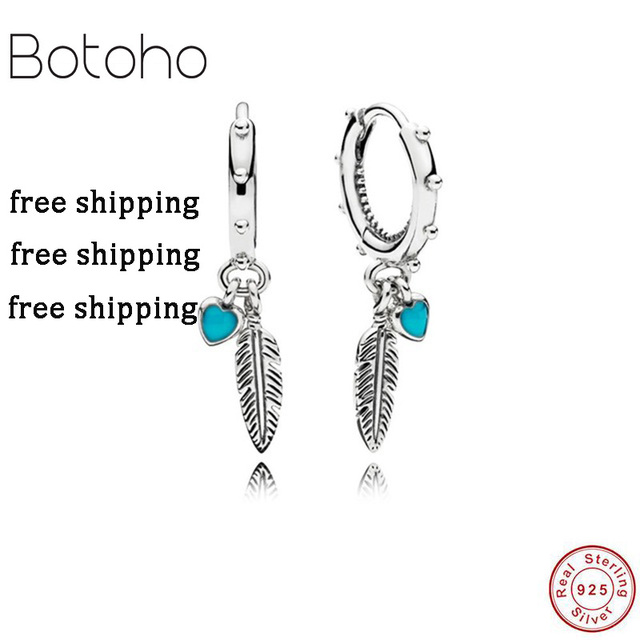 93e377373 Silver925 jewelry tassel earring Feather Pendant Earrings Summer Original  925 Sterling Silver Pendant Women Charm Gift Jewelry