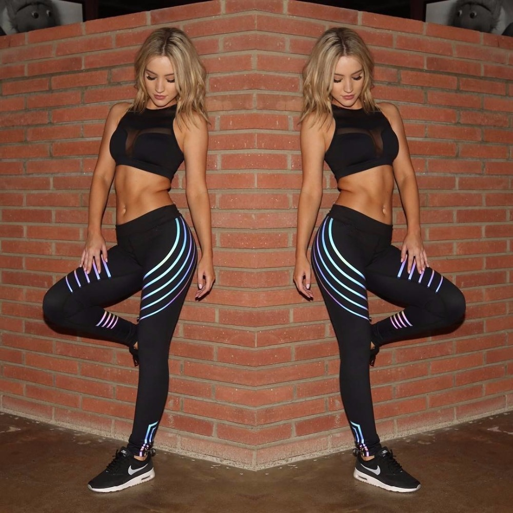Reflective   Leggings   Glow in the Dark Night Quick Dry Light Stripes Shiny Workout Pants Dance Sportswear for Women Female   Legging
