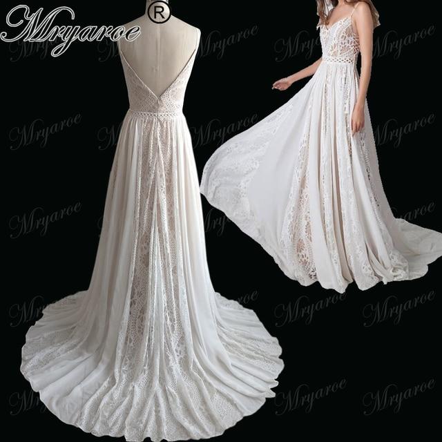Mryarce 2018 New Boho Chic Wedding Dresses Spaghetti Straps Twist ...
