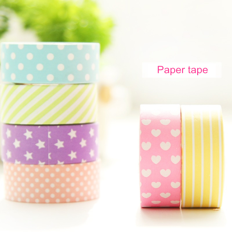 6 Pcs/Lot Decorative  Paper Washi Tape Set Purple Star Rose Heart Dots 15mm*5m Masking Tapes Adhesive Stickers Stationery 6944