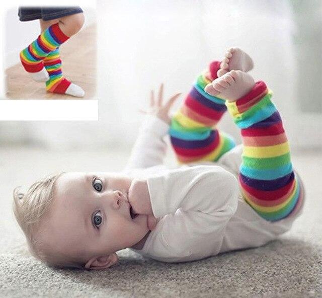 b872f73a2d21a New Girls Kids Baby Legs Rainbow Stripes Leggings Socks Leg Warmers Striped  Socks Children Sports Knee