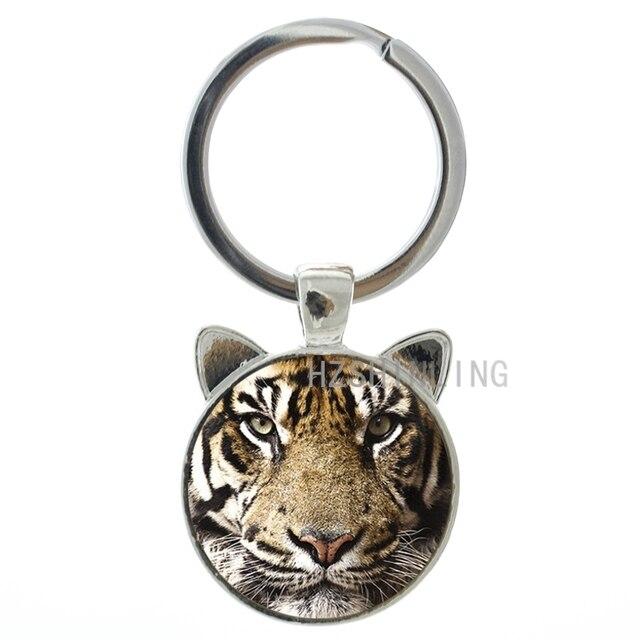 Brand charm tiger keychain  design vintage tiger wild animal pendant key chain ring holder cool gift for men women CN476