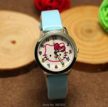 Самые продаваемые Дизайн Дети Кошка кожаным ремешком Рождественский подарок для детей люминесцентные стрелки наручные часы студенческие повседневные slame squartz смотреть