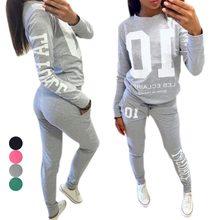 Hot Women 2Pcs/Set Tracksuit Jogger Jogging Letter Print Sweatshirt+Pants Loungewear Suit HD88