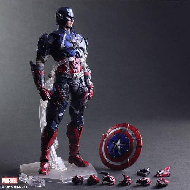 PlayArts KAI Captain America PVC Action Figure Collectible Model Toy 27cm KT1890 captain america civil war bobble head pvc action figure collectible model toy doll 10cm