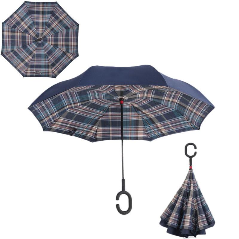 Plaid vert roulant sur parapluie inversé Double Protection contre la pluie longue c-mains pliant mignon parapluie Parasol parapluie inversé