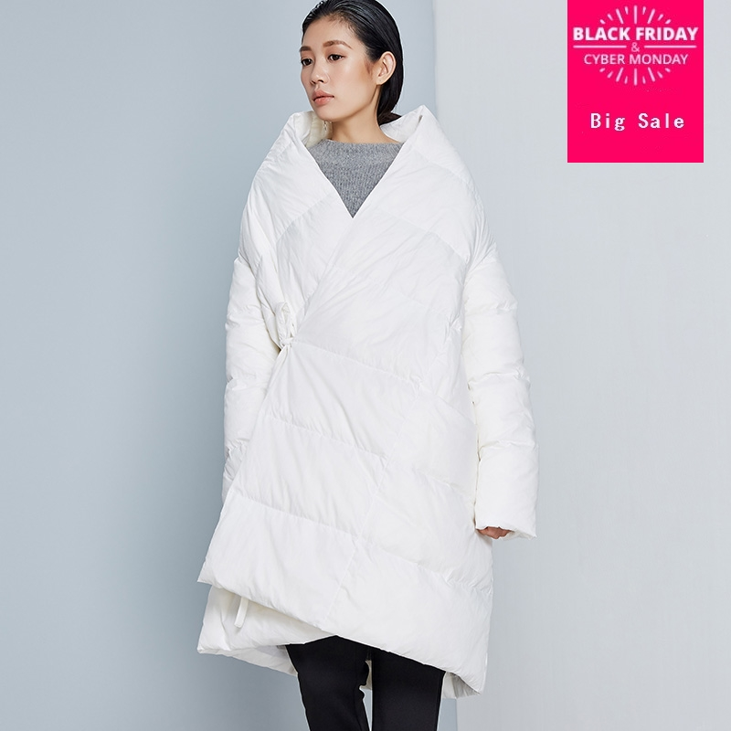 winter new arrival fashion brand silver Asymmetric Length duck   down   parkas winter stand collar thicker warm   down     coat   wq633