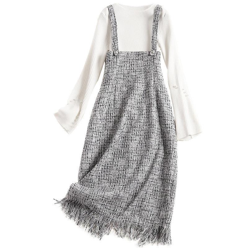 Led juste The Femelle As Robe Lâche Nouveau Chandail Fonds 2018 Un Jeune Costume De Picture Bretelles Mot Automne Hivers Fille qgBp0